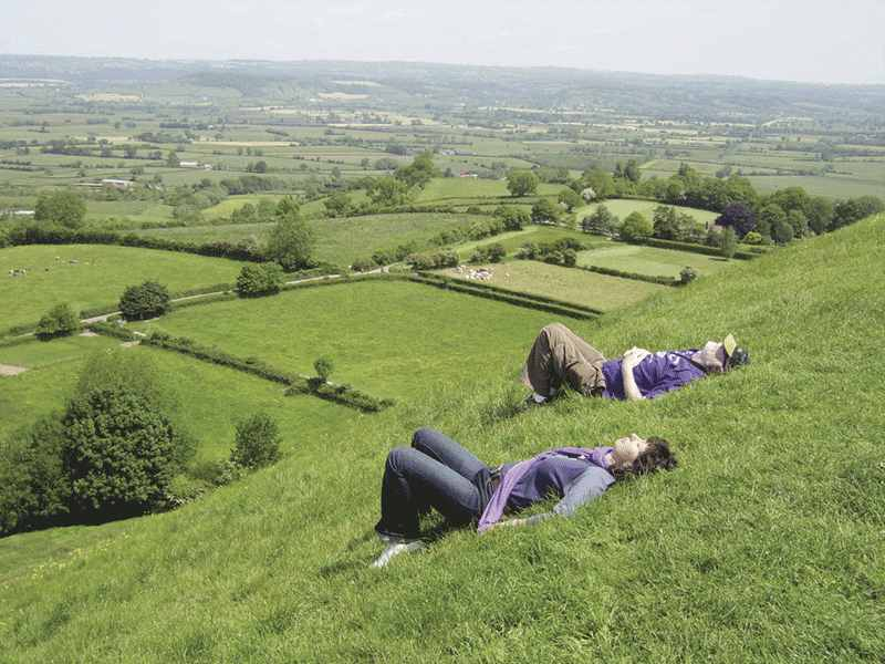 Laying in the grass on the side of the Tor