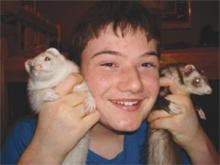 Neil and pet ferrets.
